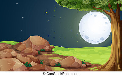 A rocky forest under the bright fullmoon