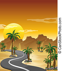 A desert with a long and winding road - Illustration of a...