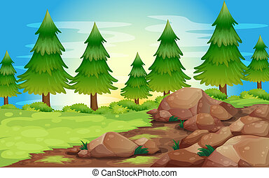 Big stones and pine trees - Illustration of the big stones...
