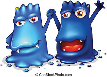 Happy blue monsters in one team - Illustration of the happy...