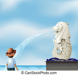 A boy in front of the Merlion statue - Illustration of a boy...