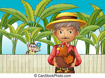 Illustration of an old man holding a rooster standing in front of the fence with a monkey