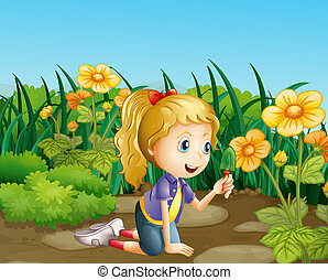 A girl in the garden holding a shovel - Illustration of a...