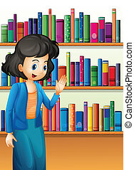 A librarian in front of the bookshelves with books -...