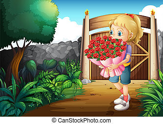 A girl inside the gate holding a bouquet of flowers -...
