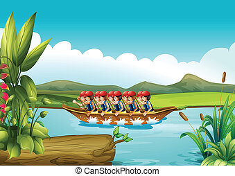 A wooden boat full of men - Illustration of a wooden boat...