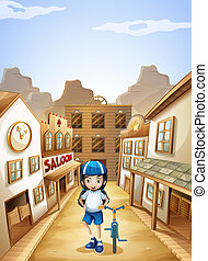 A girl standing in the middle of the saloon bars with her bike