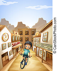 A boy biking in the middle of the saloon bars