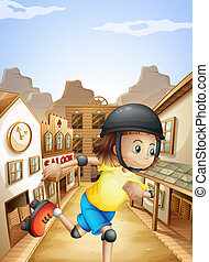 A girl rollerskating near the saloon bars - Illustration of...