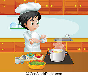 A male chef cooking at the kitchen - Illustration of a male...