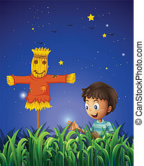 A boy at the farm with a scarecrow - Illustration of a boy...