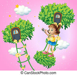 A girl with her camera near the ladder plant