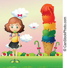 A girl eating an icecream beside a giant icecream