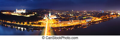 Bratislava at twilght from new bridge