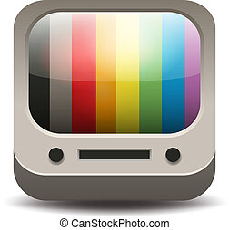 Rainbow colored tv set application icon