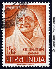 affrancatura,  kasturba, francobollo,  India,  1964,  Gandhi