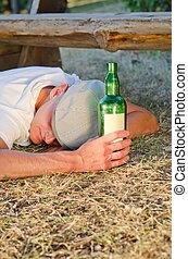 suelo, verano, sueño, hombre, borracho