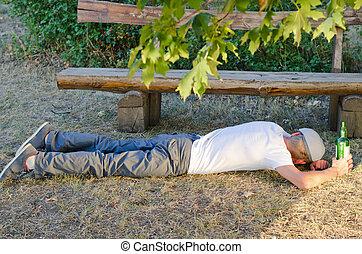 de, borracho, parque, él, sueño, hombre