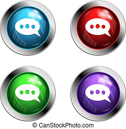 Shiny speech bubble buttons