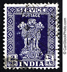 Postage stamp India 1957 Lion Capital of Ashoka Pillar -...
