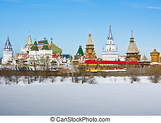 view winter Izmailovo Kremlin in Moscow, Russia
