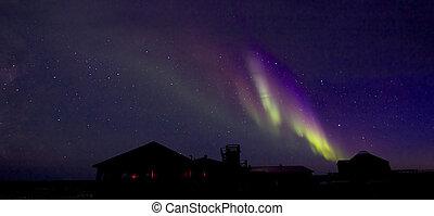 Aurora Borealis over Building 1 - Amazing Aurora Borealis,...