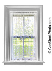 Window with lace curtain - Window and sill with sheer lace...
