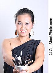 Asian female, makeup