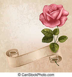 Greening cards - Vintage greeting cards with beautiful rose