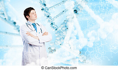 Confident doctor - Image of male doctor with arms crossed on...