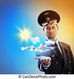 imagen, piloto, avión, mano