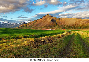 Farm land with road- snaefellsnes - Nice mountain Iceland...