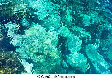 Water rocky background, Atlantic Ocean. - Turquoise water...