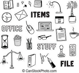 Office and business objects doodles set - Vector collection...