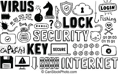 Internet security doodle vector set - Hand drawn vector...