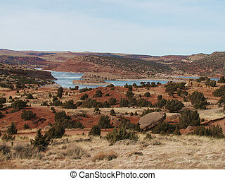 Red Desert Lake - Pathfinder Reservoir in Central Wyoming.