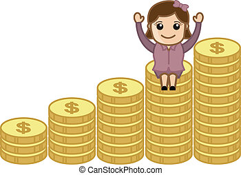 Woman Sitting on Gold Coins - Successful Cartoon...