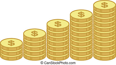 Gold Coin Stacks - Business Graph - Gold Coin Stacks -...