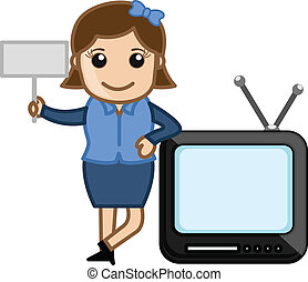 Woman with Tv and Blank Board