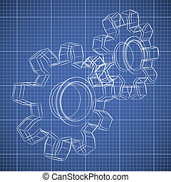 3D gear wheel sketch drawing on blueprint background.