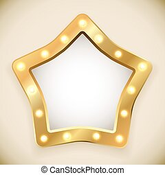 Blank golden star frame with light bulbs vector...