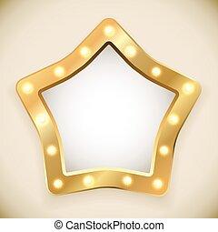 Blank golden star frame with light bulbs vector...