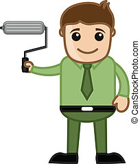 Man Holding Paint Roller Vector