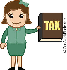 Girl Showing Tax Book Vector - Pay Your Tax - Know -...