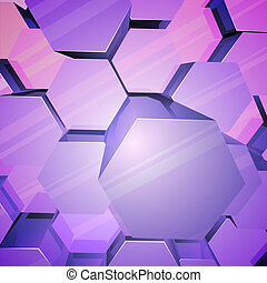 Violet shiny hexagons background. - Violet shiny hexagons 3D...