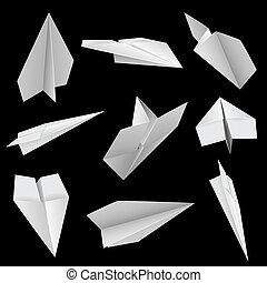 Paper planes on black background vector illustration.