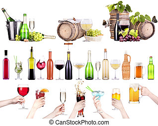 different alcohol drinks set isolated- beer, martini, cola,...