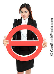 Businesswoman holding prohibited sign over white background