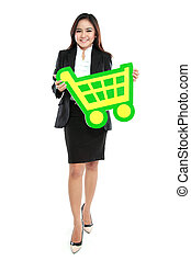 Picture of happy businesswoman holding sign of shopping chart