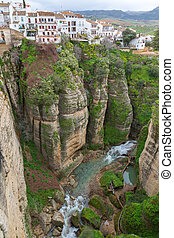 Ronda, Spain - View of the old city of Ronda canyon, Malaga,...